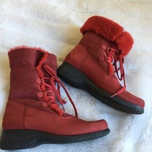 La Canadienne Red Suede Fur Trimmed Winter Boots